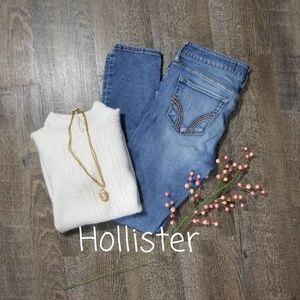 HOLLISTER DISTRESSED DENIM SKINNY JEANS, SIZE 7S